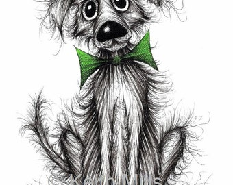Frizzy dog Print A4 size art picture Adorable cute lovely little pet pooch puppy doggie in green trendy bow tie Ink sketch printed on paper