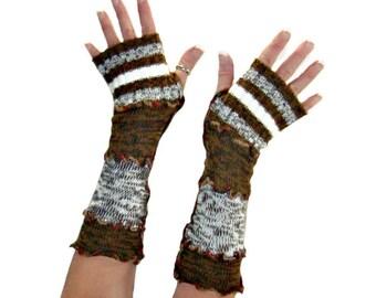 Brown Arm Warmers, Upcycled Clothing, Brown Fingerless Gloves, Upcycled Arm Warmers, OOAK Arm Warmers, Handmade Arm Warmers, Boho Fashion