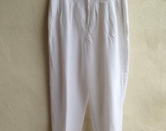 Vintage high waist pant white rayon pockets by Streetwear sz 10/11