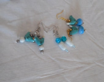 bird earrings  two pretty blue ceramic and one pretty blue glass  5.00 EACH Free Shipping USA