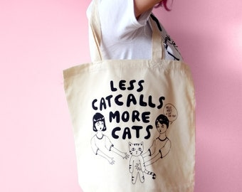 Less Catcalls More Cats Tote bag