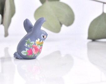 Spring Flower Spirit Bunny Rabbit Totem Figurine, Miniature Animal Sculpture, Animal Totem