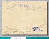 Vintage Airplane Thank You Card - Birthday - Baby Shower - 4 x 5.5 - Retro - Baby Boy - Printable - DIY - Digital - INSTANT DOWNLOAD