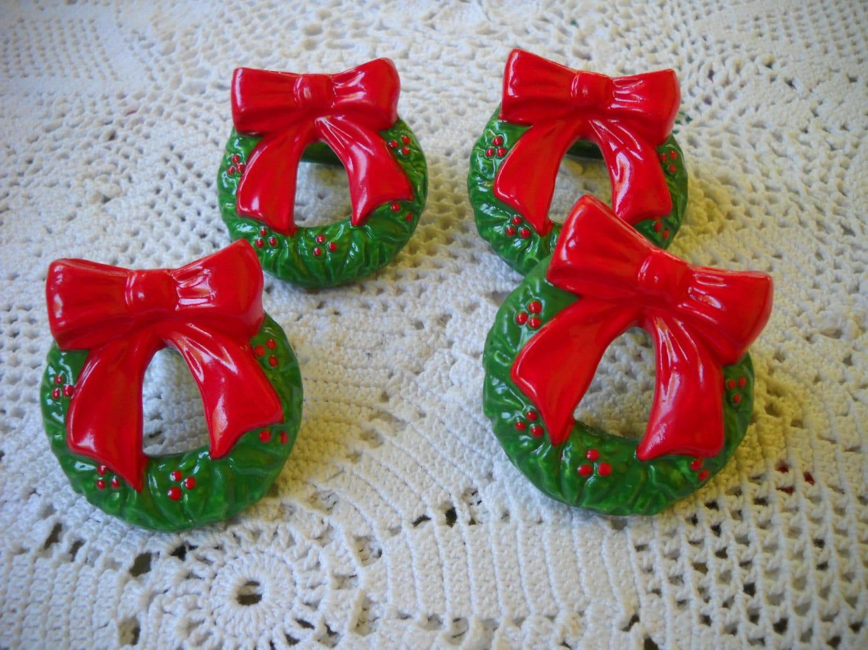 Vintage Holiday Wreath Napkin Rings Christmas Table Holiday