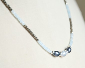 Aquamarine pearl pyrite necklace, sterling silver, natural faceted aquamarine, pyrite, black white pearls, delicate beautiful necklace