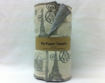 Unpaper towels, reusable paper towels, cloth paper towels, snapping paper towels -  French Stamp