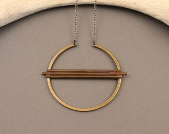 Equinox geometric brass circle necklace with gunmetal chain- modern, minimalist, boho design