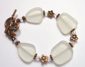 White Sea Glass Copper Fire Polish Bracelet