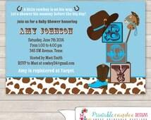 Cowboy Baby Shower Invitation - Cowboy Baby Shower - Western Baby Shower - Rustic Baby Shower - Printable Cowboy Baby Shower
