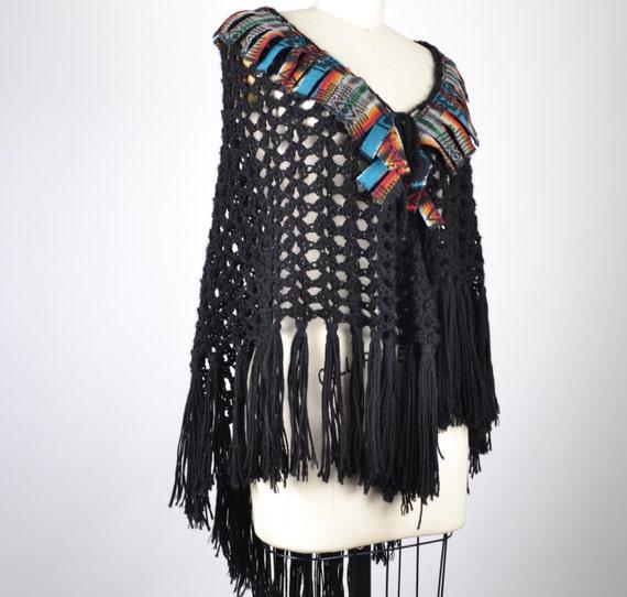 Re-purposed Crochet Shawl - Hippie Shawl Poncho - Native American Inspired - Festival Crochet Poncho