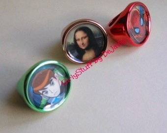 Fun Chunky Girly Rings, plastic, resin filled, metallic colors,Spiderman, Ben 10, Mona Lisa, size 7 / 8, made in Greece