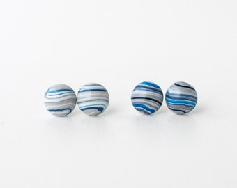 Blue and grey striped round earrings silver plated stud simple earrings polymer clay