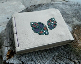 A5 Leather Journal Landscape with Leafy Detailing and Anatomical Lung Stamp Recycled Leather Diary Handbound Book