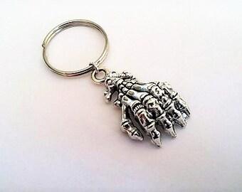 Skeleton hand keychain, Human hand keychain, human bones keychain, anatomy keychain, Hand skull keychain, silver keychain, spooky key fob