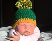 Green Bay Packer Football Hat, crochet hat, pom pom hat, photography prop