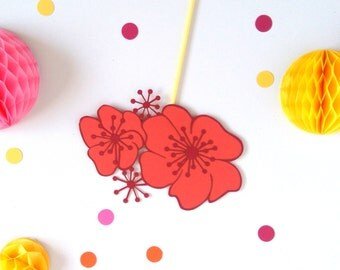 Tropical Party Idea - Flower Cake Topper - Aloha Decorations - Luau party - Tropical Hen Party - Moana Party Decor - Cake Topper UK - Floral
