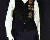 Embroidered vest white shirt School girl outfit Preppy clothing 2 pc set Black Wool vest button down blouse Vintage 90s long sleeve top XS S
