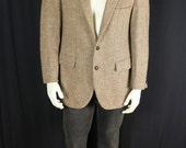 Men's Harris Tweed jacket Wool blazer Retro sport coat Vintage blazer Mens 90s casual clothing Tan gray brown sportcoat 40