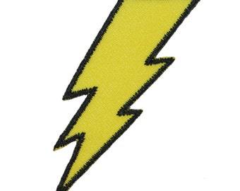 Lightning Bolt Symbol Electric Zap Icon Flash Strike Embroidered Iron On Applique Patch