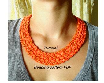 Necklace - Orange snake. Beading Tutorial. Beading pattern PDF. Instant download.