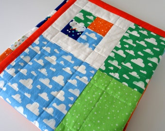 Baby or Toddler Quilt for Boy - Clouds, Rain, Stars, Moons, Sky, Umbrellas, Raindrops on Cotton, Reversible, 35 x 42 inches