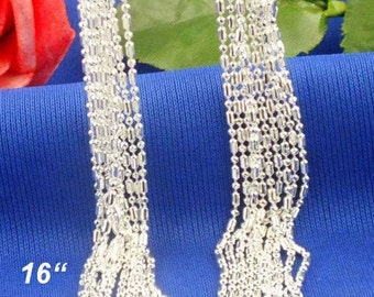 16 inch  (1pc)- Sterling Silver 1mm COLUMN Necklace Chains - .925 stamped -lobster clasp - Sterling Silver Stamped - Bulk - Column and Ball