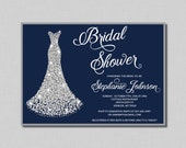 Navy and Silver Bridal Shower Invitation diamond wedding gown Nora BR01 Digital or Printed