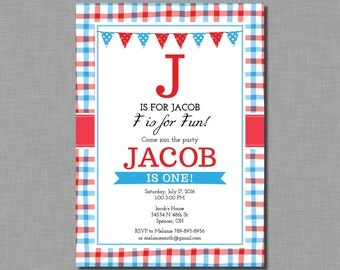 Red Blue Birthday Invitation first 1st boy MB61 Digital or Printed