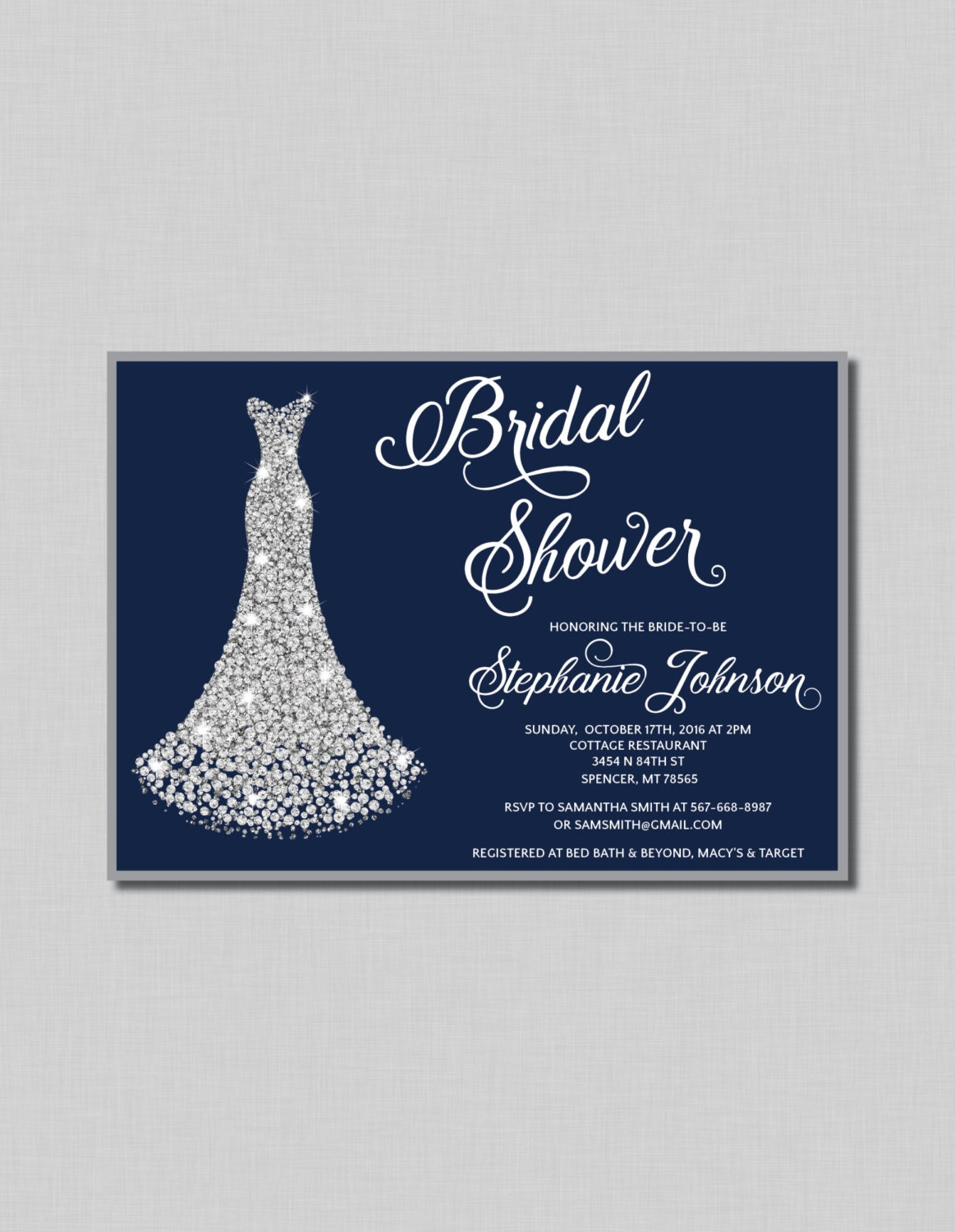 Navy and silver bridal shower invitation diamond wedding gown for Wedding dress bridal shower invitations