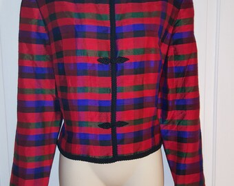 MAGGY LONDON BLAZER // Plaid 80's Suit Jacket Red Purple Black Blue Size 12 Silk Blouses 90's Holiday Christmas