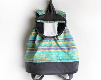 Handmade Backpack Upcycled 90s Abstract Geometric Striped Print Unique
