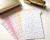 Set of 6 // A5 or Personal Planner Dividers // A5 Dividers // Personal Dividers // Spring Dividers // Pastel Planner Dividers // Chevron