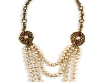 Vintage Chanel 1984 Medallion with Pate de Verre Stones Cascading Baroque Pearl Necklace