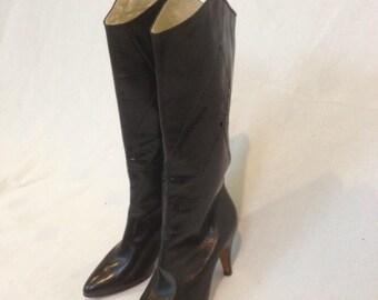 1980s Black Leather Ferragamo Boots - Size 6 1/2