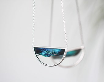 Wave  . Feather necklace. Half circle stained glass necklace with emerald peacock feather. Boho pendant.
