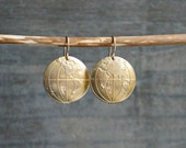 Globe Earrings // Eastern and Western Hemisphere Brass Earth Earrings on hypoallergenic 14k gold filled earwires for sensitive ears