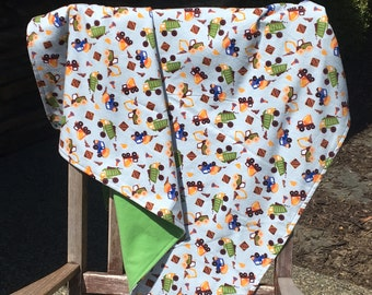 Flannel Baby Blanket / Kid Car Blanket / Shower Gift- Dump Trucks on Blue with Diggers, Personalization Available
