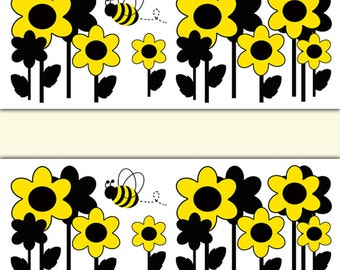 BEE BORDER DECALS Nursery Wall Art Yellow Floral Girl Room Decor Baby Honey Bumble Bee Shower
