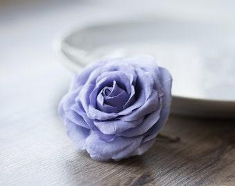 Purple flower hair clip - rose hair clip - purple wedding flower clip - wedding hair clip - purple rose - purple hair accessory