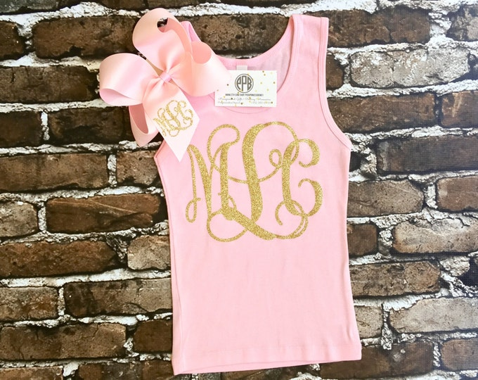 Monogram Tank Top and Monogrammed Hair Bow Gift Set, Monogram Tank Tops, Monogrammed Hair Bows, Monogram tank top and Hair bow