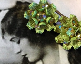 Decorative Hair Pins 1940's Lime Green AB Rhinestone Hairpins Bobby Pins