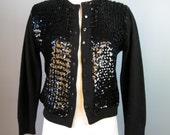 Sequined Cardigan / Vtg 60s / Black Sequined Cardigan