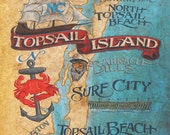 Topsail Island NC  beach Map   Print