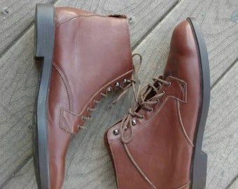 Vintage Rockport Brown Leather Lace-up Short Ankle Boots Booties Shoes Womens Sz 9M Style W4571