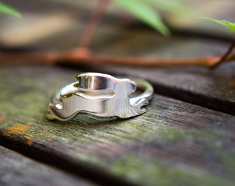 Silver hare ring,  silver rabbit ring, silver bunny ring, hare totem ring, sterling silver handmade ring, gift for her,