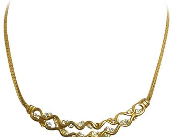 Vintage Givenchy double wave design flap chain necklace with rhinestone crystals. Classic and simple statement necklace in the era. Audrey