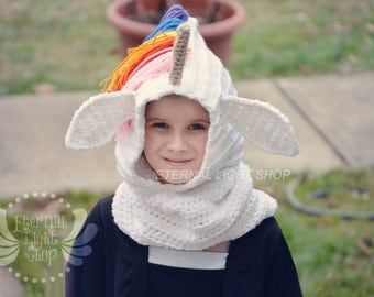Any Sizes & Colors Unicorn Crochet Hooded Cowl/Scoodie