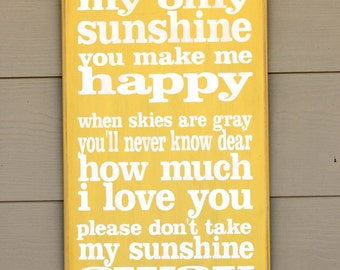YOU ARE my SUNSHINE - in Yellow - Hand-painted Wooden Sign - Typography - Subway art -  I love you