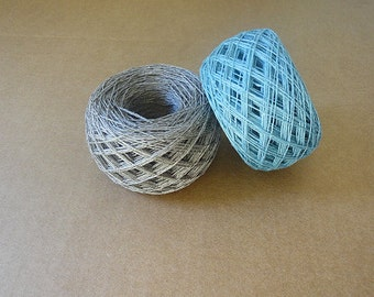 3ply  linen yarn, linen thread, natural yarn, gray aqua color, crochet, knitting yarn