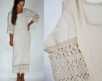1970s Crochet Cotton Bohemian Dress